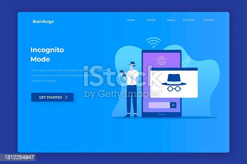 istock Flat design of incognito browsing concept 1312254947