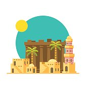 Flat design of Karnak ruins in Egypt