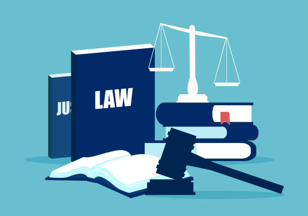 Flat design of law system elements Simple design of legal system elements with books and scales on blue background supreme court stock illustrations