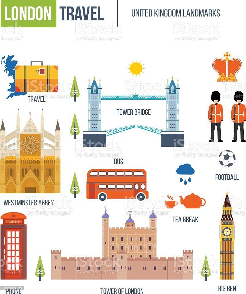 Flat design of London city. Historical and modern building. vector art illustration