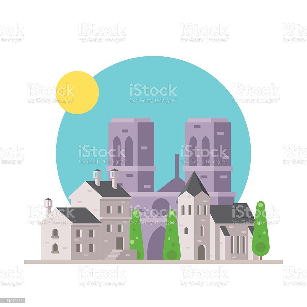 design plat de Notre Dame en France village - Illustration vectorielle