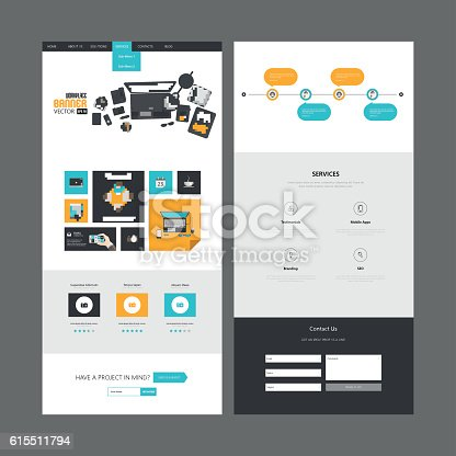 istock Flat Design of One page website design template. 615511794