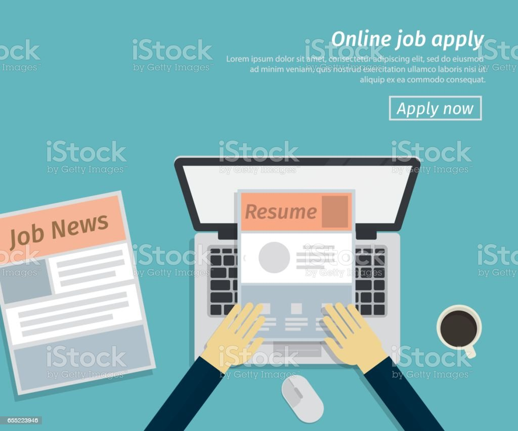 flat design of online job apply vector art illustration