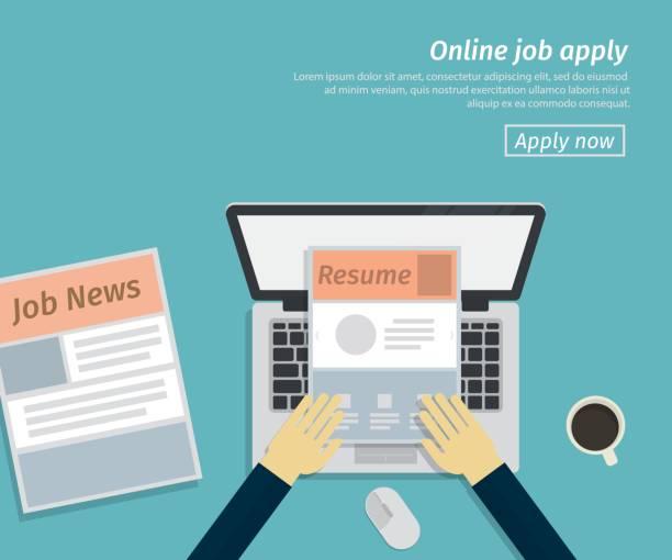 flat design of online job apply vector art illustration