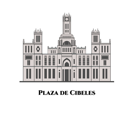 Flat design of Plaza de Cibeles in Madrid, Spain. An iconic symbol for the city of Madrid. A building with Cibeles Fountain and has become one of the most emblematic symbols of Spain's capital city