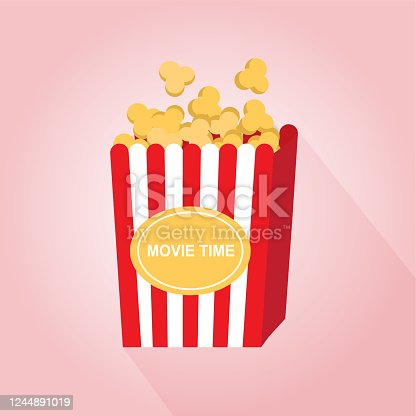 Vector illustration, simple popcorn, colourful, movie time