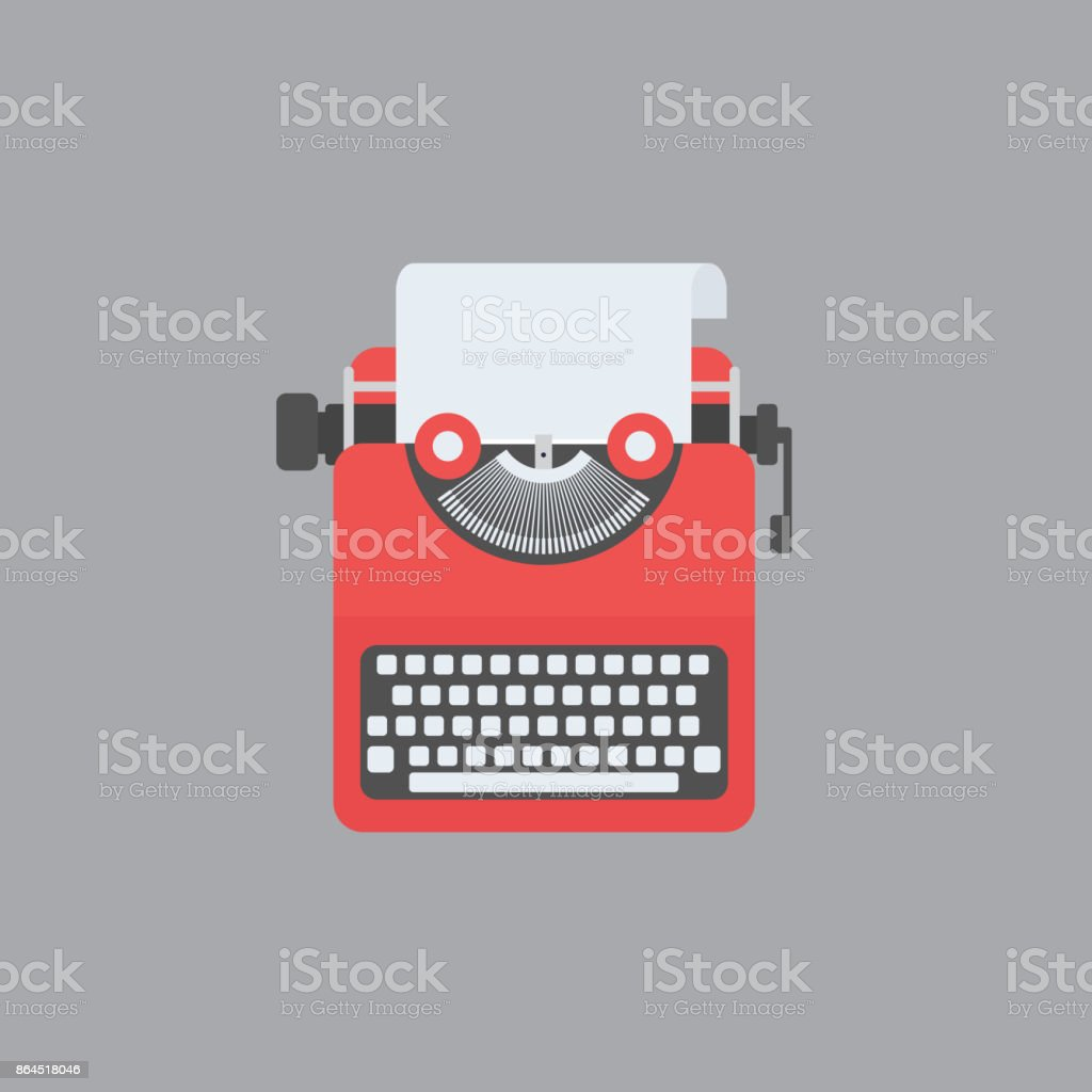 Flat design of red typewriter. Blogging concept vector art illustration