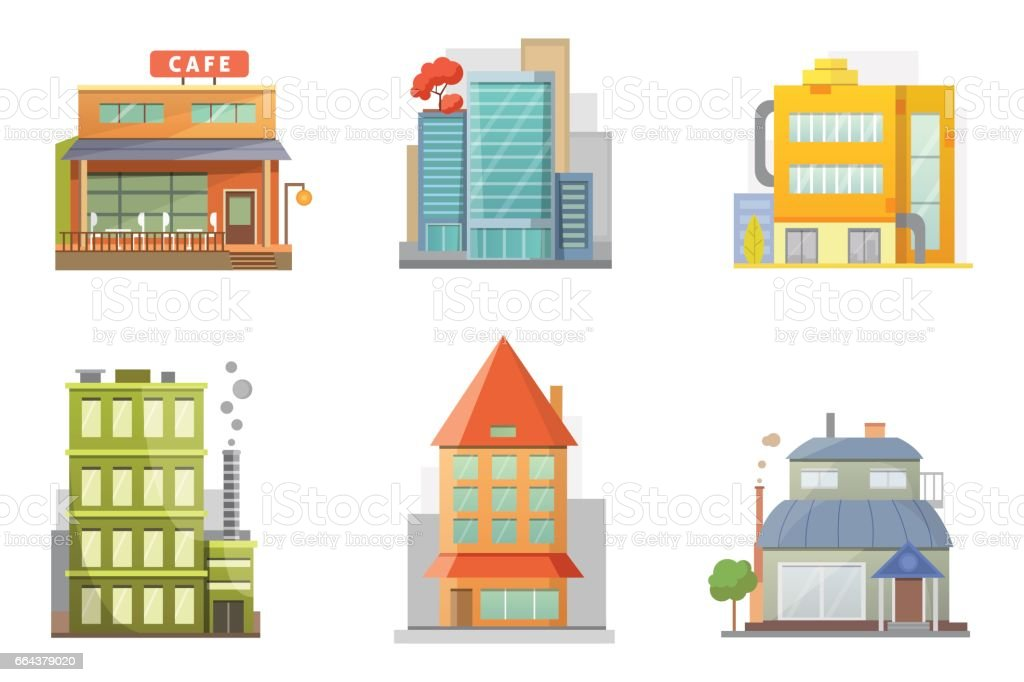 Flat Design Of Retro And Modern City Houses Old Buildings Skyscrapers Colorful Cottage