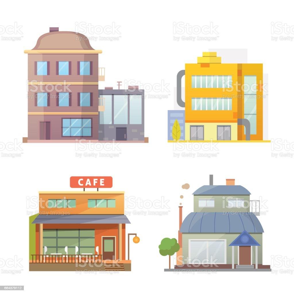 Flache Bauweise Der Häuser Retro Und Moderne Stadt. Alte Gebäude,  Wolkenkratzer. Bunte Häuschen