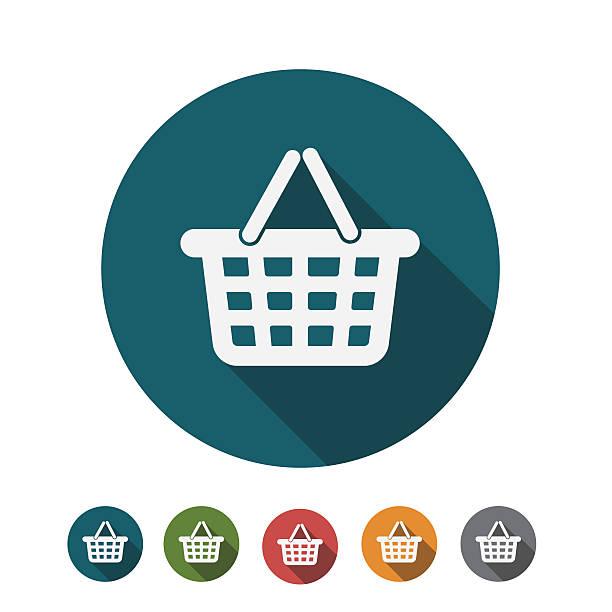 flat design of shopping cart icon - kosz na zakupy stock illustrations