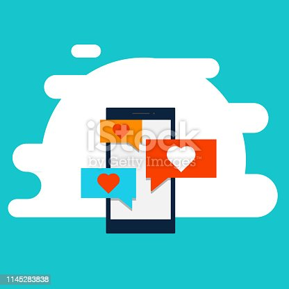 Flat design of video marketing, Data receive and send, Video on a mobile screen, video sharing and marketing flat vector concept with icons, Cloud Computing, big data analysis, and data mining, Flatline design website banner of internet security - Illustration