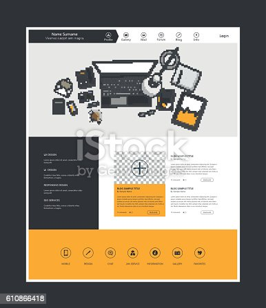 istock Flat Design of website template with workplce flat illustration 610866418