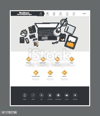istock Flat Design of website template with workplce flat illustration 611782736