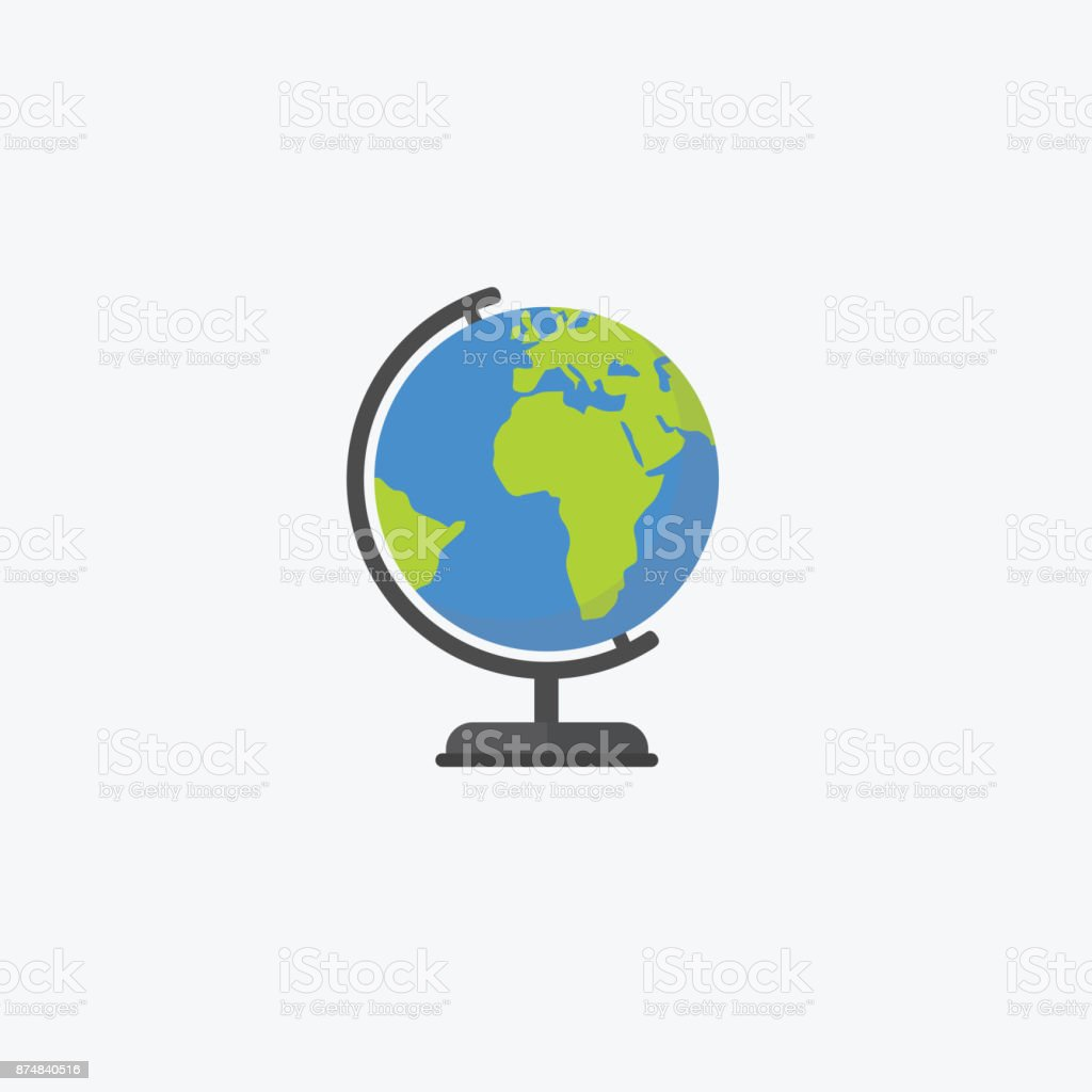 Flat design of world globe isolated, Education concept vector art illustration