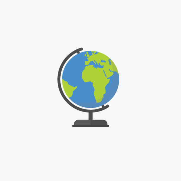 flat design of world globe isolated, education concept - earth stock illustrations