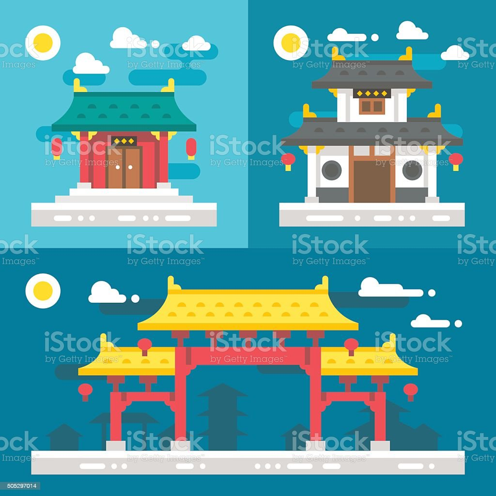 Flat design old chinese buildings vector art illustration