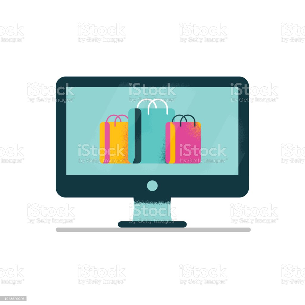 5d3c02340c2 Flat design on online shopping using computer device and colorful shopping  bags and packages - Illustration .