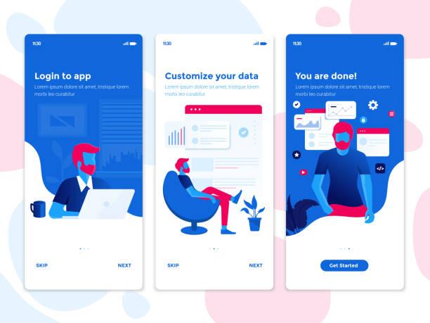 flat designkonzepte onboarding - passen sie ihre daten - webdesigner grafiken stock-grafiken, -clipart, -cartoons und -symbole