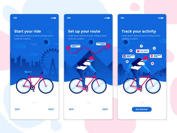flache design onboarding-konzepte - radsport app - webdesigner grafiken stock-grafiken, -clipart, -cartoons und -symbole