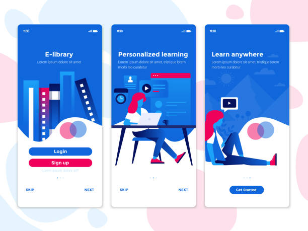 flache design onboarding-konzepte - bildungs-app - webdesigner grafiken stock-grafiken, -clipart, -cartoons und -symbole