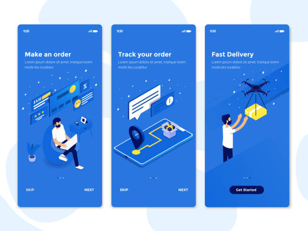 flache design onboarding-konzepte - isometrische abbildung 2 - webdesigner grafiken stock-grafiken, -clipart, -cartoons und -symbole