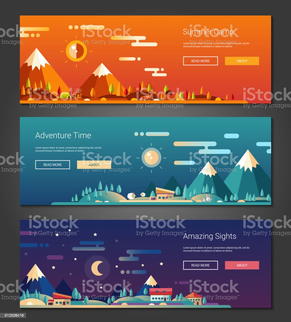 Flat design outdoors activity and tourism landscapes banners set vector art illustration