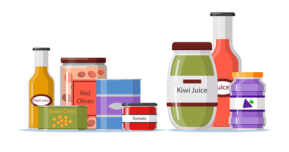 Flat design pantry with food containers Vector illustration