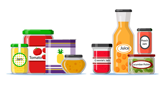 Flat design pantry with spices and ingredients containers Vector illustration