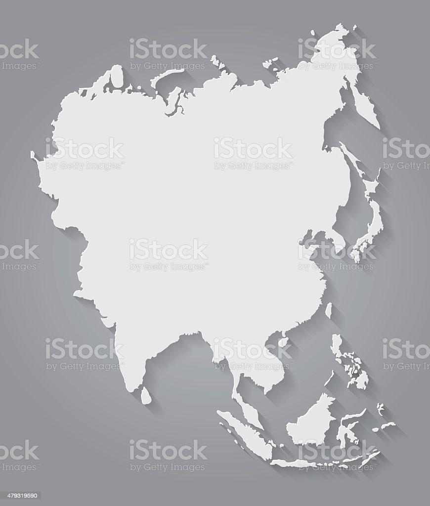 Flat Design Paper Asia Map vector art illustration