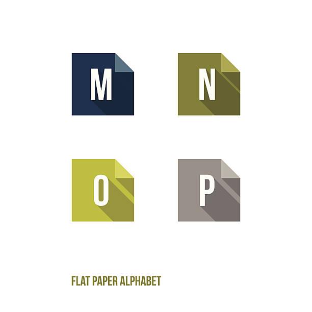 m n o p flat design paper button alphabet vector art illustration