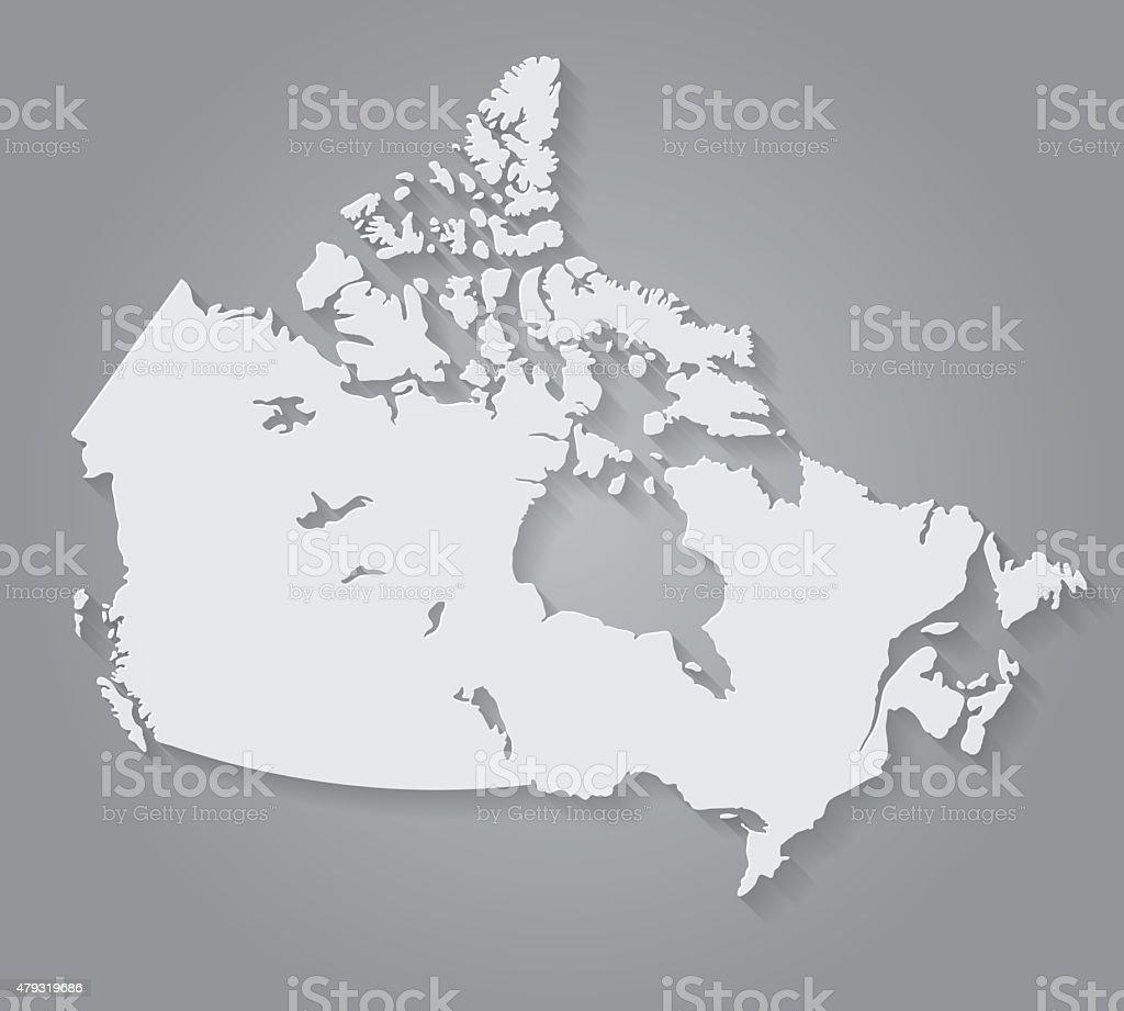Flat Design Paper Canada Map vector art illustration