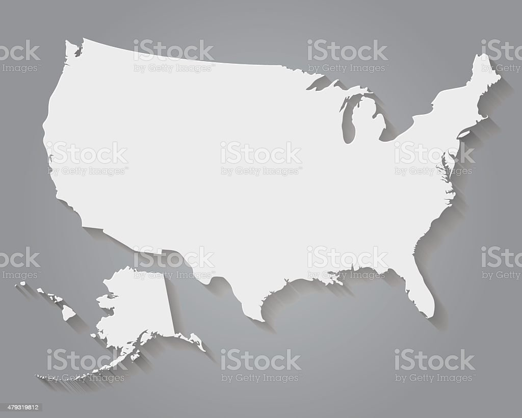 Flat Design Paper United States Of America Map Stock Vector Art - Us flat map
