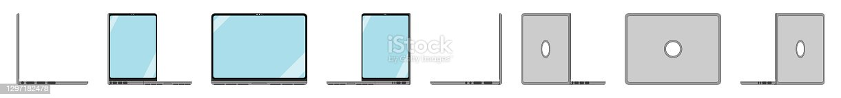 istock Flat design PC illustration in orthonormal view for UX and UI, group 360 views. 1297182478