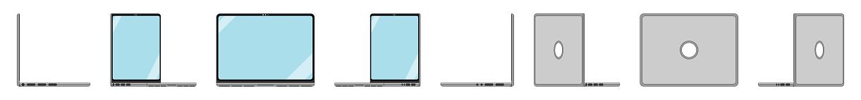 Flat design PC illustration in orthonormal view for UX and UI, group 360 views.