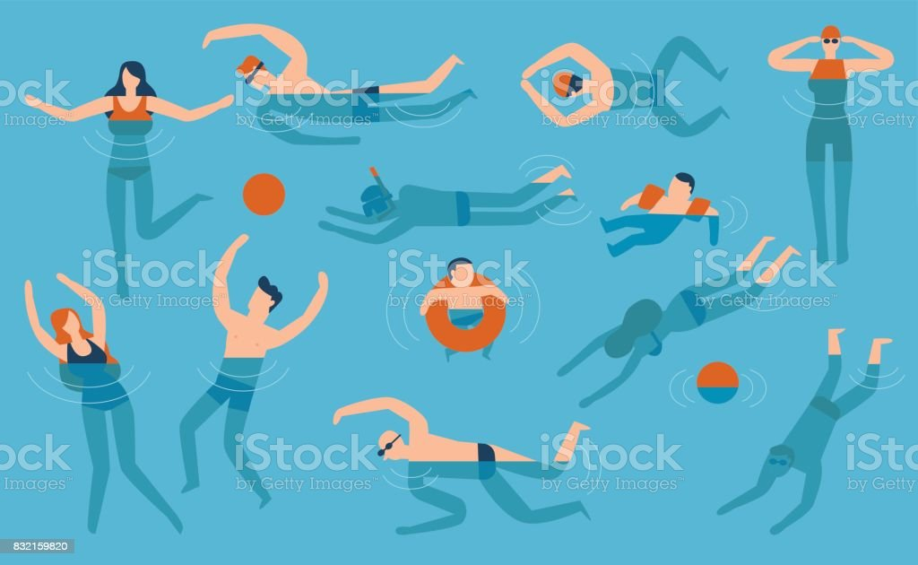 Flat design people are swimming in the swimming pool vector art illustration
