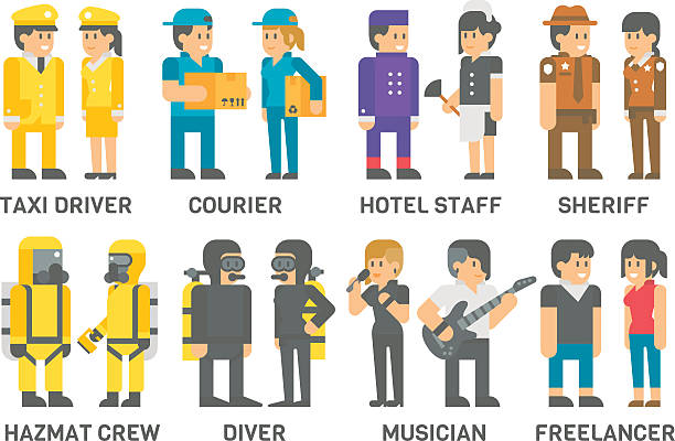 flat design people with professions set - cartoon of a hazmat suit stock illustrations, clip art, cartoons, & icons