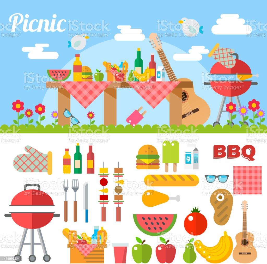 Flat Design Picnic BBQ elements Vector vector art illustration