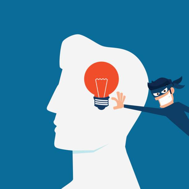 flat design piracy concept. thief stealing light bulb idea from a head. - naśladownictwo stock illustrations