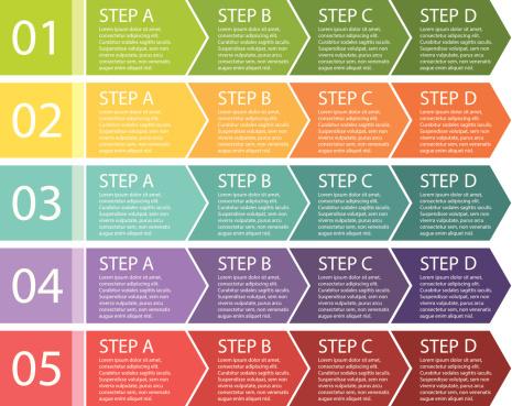 Flat design. Process arrows boxes. Four steps.