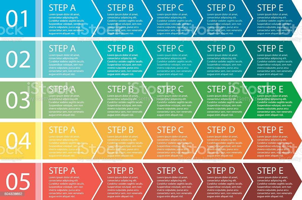 Flat design. Process arrows boxes set. 5 steps. vector art illustration