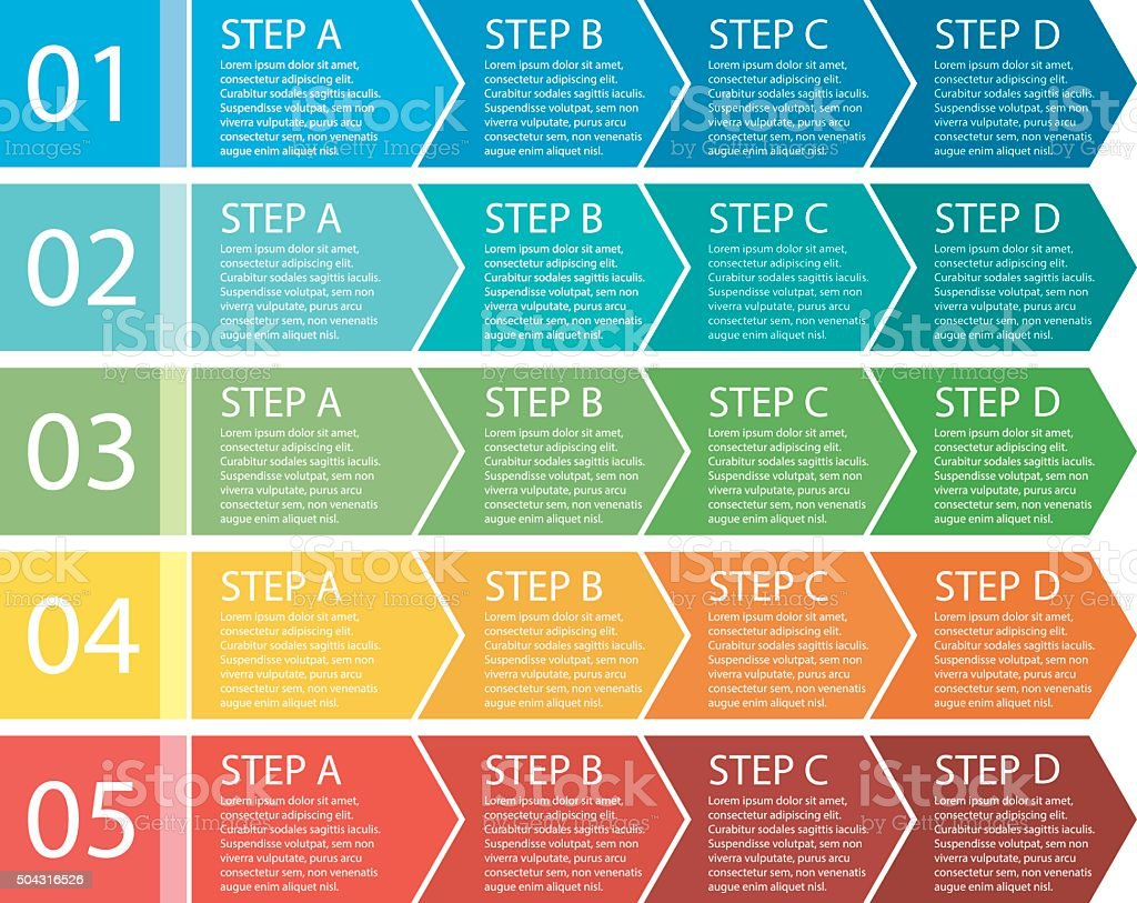 Flat design. Process arrows boxes. Step by step set. Four steps. vector art illustration