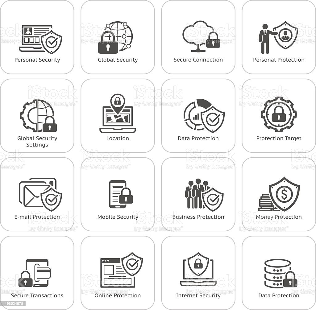 Flat Design Protection and Security Icons Set. vector art illustration