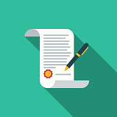 Flat Design Real Estate Contract Icon with Side Shadow