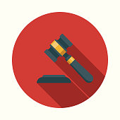 istock Flat Design Real Estate Gavel Icon with Side Shadow 869077562