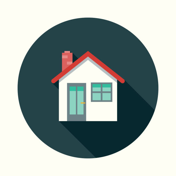 Flat Design Real Estate Home Icon with Side Shadow vector art illustration
