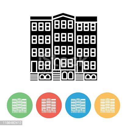 Simple real estate icons on flat colored circles. Black and white icons on yellow, red, blue and green bases.