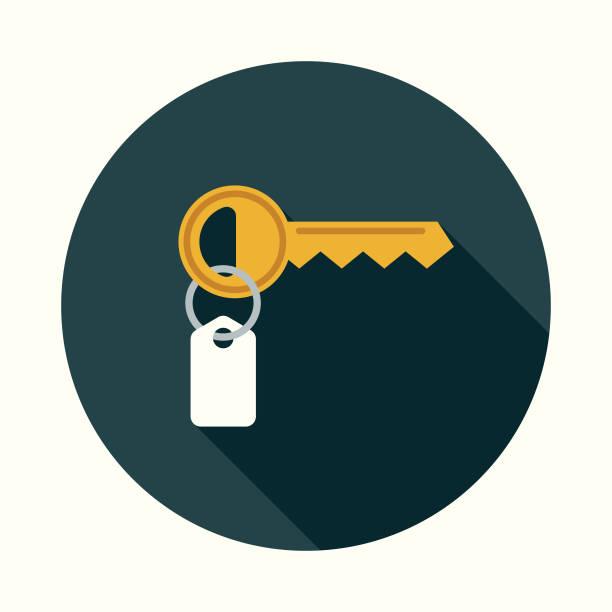 flaches design immobilien schlüsselsymbol mit seite schatten - schlüssel stock-grafiken, -clipart, -cartoons und -symbole