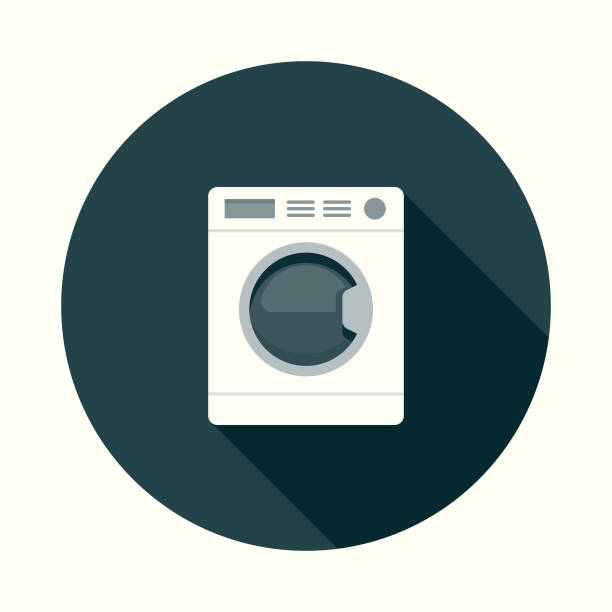 flat design real estate laundry icon with side shadow - washing machine stock illustrations, clip art, cartoons, & icons