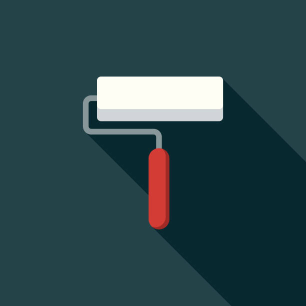 Flat Design Real Estate Renovations Icon with Side Shadow A flat design styled real estate icon with a long side shadow. Color swatches are global so it's easy to edit and change the colors. paint roller stock illustrations