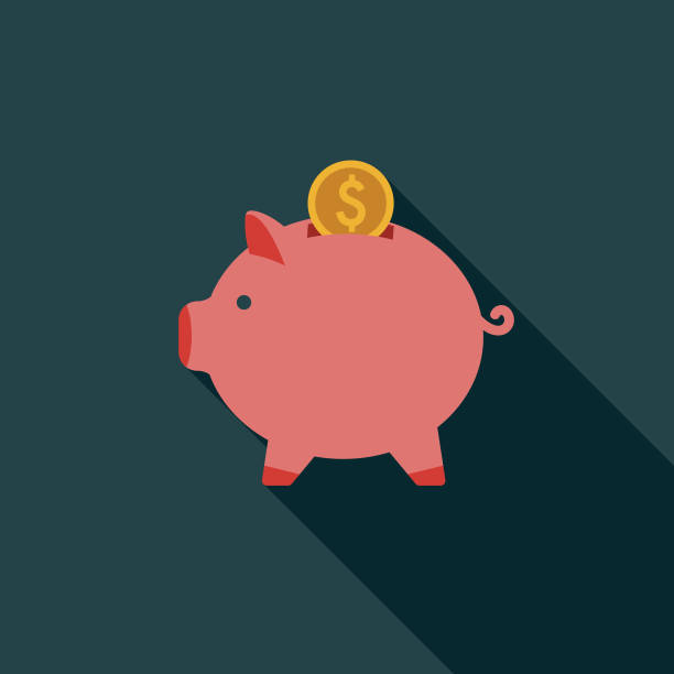 Flat Design Real Estate Savings Icon with Side Shadow A flat design styled real estate icon with a long side shadow. Color swatches are global so it's easy to edit and change the colors. piggy bank stock illustrations